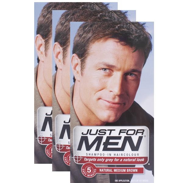 Just For Men Shampoo-in Hair Colorant Medium Brown Triple Pack