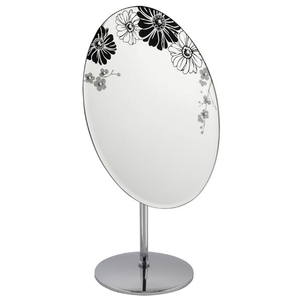 Oval Mirror With Flower Design