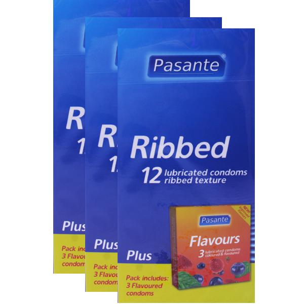 Pasante Ribbed Condoms Triple Pack