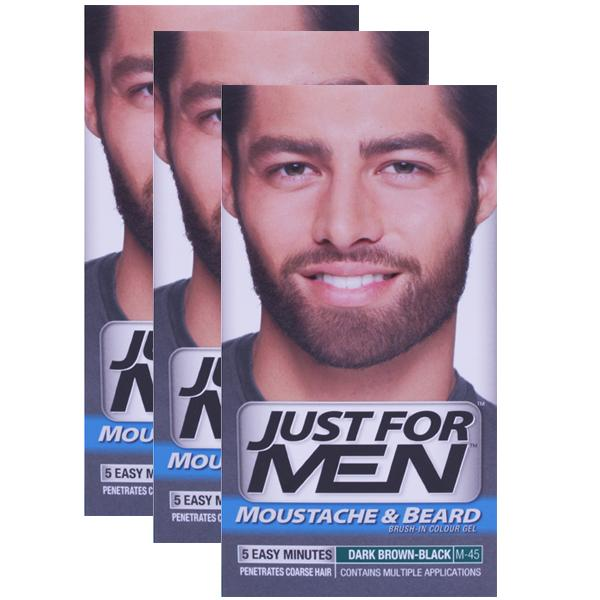 Just For Men Moustache Beard And Sideburns Dark Brown-Black Triple Pack