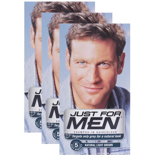 Just For Men Shampoo-in Hair Colorant Light Brown Triple Pack